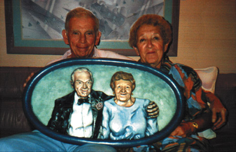 """Mom & Pop"" wall hanging by Clay Boone"